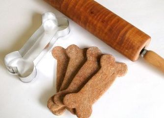 Dog treat recipes made with dog bone cookie cutters and rolling pin.