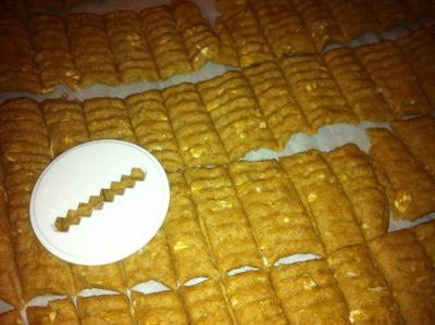 Peanut butter oatmeal treats through a cookie press