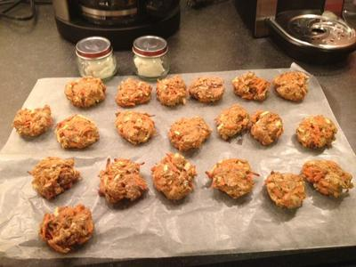 Carrot cookies, Baby food jars filled with cream cheese.